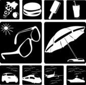 Raccolta di simboli di viaggio — Vettoriale Stock