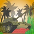 The tank in the jungle - Stock Vector