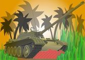 The tank in the jungle — Stock Vector