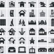 Icons of houses — Vector de stock #22986874