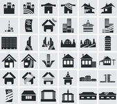 Icons of houses — Vector de stock