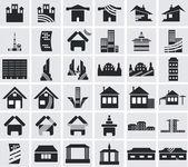 Pictogrammen van huizen — Stockvector