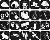 Icons for hunting — Vector de stock