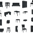 Stock Vector: Furniture isolated on white background
