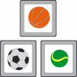 Vector de stock : Buttons with image of balls