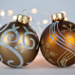 Golden Christmas ornaments - Zdjcie stockowe