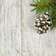 Christmas background with ornaments on branch — Stock Photo