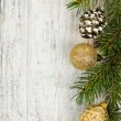 Christmas background with ornaments on branch — Stock Photo #16628155