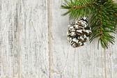 Christmas background with ornaments on branch — Stok fotoğraf