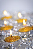 Gold Christmas candles — Stock Photo