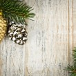 Christmas background with ornaments on branch - Stock Photo