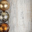 Golden Christmas ornaments border — 图库照片