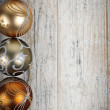 Golden Christmas ornaments border — Foto Stock