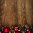 Wood background with Christmas ornaments — Stockfoto
