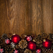 Wood background with Christmas ornaments — Stok fotoğraf