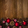 ストック写真: Wood background with Christmas ornaments