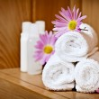 White rolled up spa towels — Stock Photo