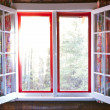Open window in cottage — Stock Photo