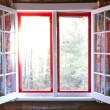 Open window in cottage - Stock Photo