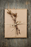 Plain gift with natural decorations — Stock Photo
