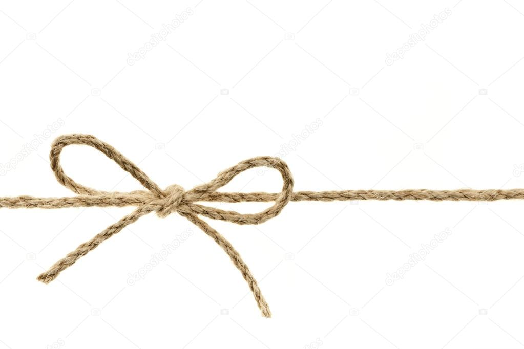 Closeup of braided twine tied in a bow knot isolated on white background — Stock Photo #16852949