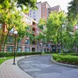 Condo building and driveway — Stock Photo