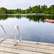 Dock on calm lake in cottage country — Stock Photo #16941993