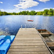 Dock on lake in summer cottage country — Stock Photo #16942029