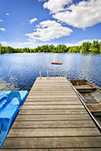 Dock on lake in summer cottage country — Stock Photo
