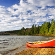 Red canoe on lake shore — Stock Photo