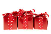 Red gift boxes — Foto Stock