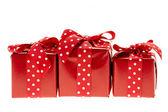 červené dárkové boxy — Stock fotografie