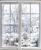 Winter view through window — Stock Photo