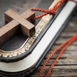 Cross on Bible — Stock Photo