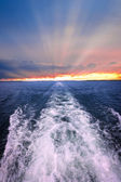 Sunset over ocean with boat wake — Stock Photo