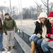 Young friends in winter park — Stock Photo