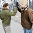 Stock Photo: Two men doing high five in park