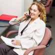 Stock Photo: Smiling womon telephone at office desk