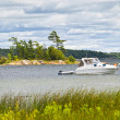 Boat anchored on lake — Stock Photo #29585821