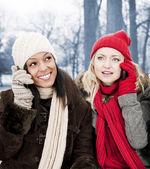 Due amici della ragazza su telefoni fuori in inverno — Foto Stock