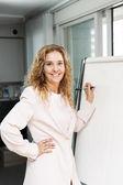 Business woman writing on flip chart — Stock Photo