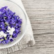 Stock Photo: Edible violets in bowl