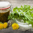 Edible dandelions and dandelion jam — Stock Photo