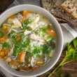 Stock Photo: Chicken soup with rice and vegetables
