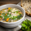 Chicken soup with rice and vegetables — Stock Photo #39353491