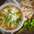Chicken soup with rice and vegetables — Stock Photo #39353973
