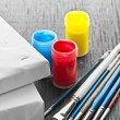 Stock Photo: Paintbrushes with canvas