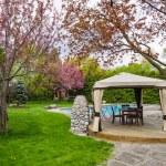 Backyard with gazebo and deck — Stock Photo