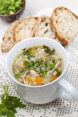 Cup of chicken rice soup — Stock Photo