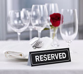 Reserved table at romantic restaurant — Stock Photo